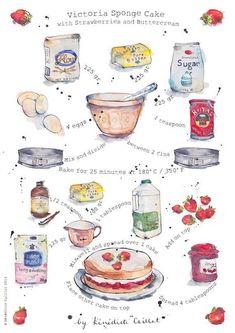 Items similar to Art Print - Kitchen Art - Victoria Sponge Cake Recipe - Illustration - from Original Ink and Watercolour Illustration on Etsy Victoria Sponge Kuchen, Recipe Drawing, Sponge Cake Recipes, Strawberry Cakes, Food Drawing, Drawing Art, Food Journal, Wrap Recipes, Fudge Recipes