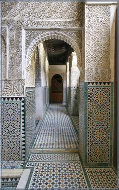 madrasa bou inania, fes, morocco | islamic art + architecture #tile Classic Architecture, Garden Architecture, Islamic Architecture, Architecture Details, Islamic Tiles, Islamic Art, Moroccan Design, Moroccan Pattern, Moroccan Tiles