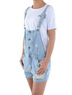 90c006c3d5 Summer Juniors Distressed Ripped Denim Jean Short Overalls For Women  Distressed