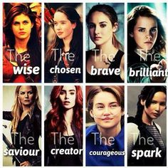 Annabeth Chase (Percy Jackson) Susan (Narnia) Tris (Divergent) Hermione (Harry Potter) Emma Swan (Once Upon A Time) Clary (The Mortal Instruments) Hazel Grace (The Fault In Our Stars) Katniss Everdeen (The Hunger Games) Percy Jackson, Fandoms Unite, Narnia, Heros Film, I Love Books, My Books, Citations Film, Tribute Von Panem, The Hunger Games