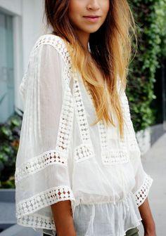 blusa con tejido y transparencia