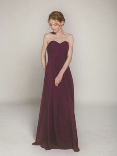 aubergine long chiffon sweetheart bridesmaid dress swbd004