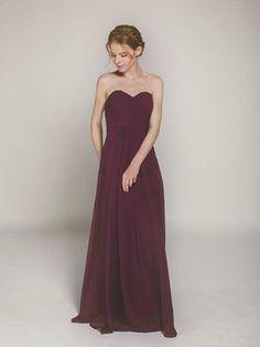 aubergine long chiffon sweetheart bridesmaid dress swbd004