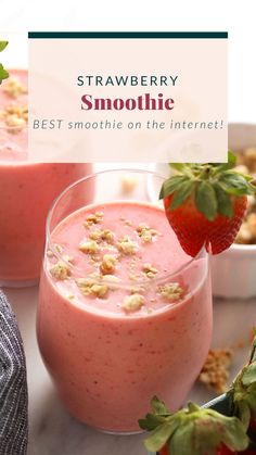 Wake up to this refreshing Strawberry Smoothie recipe. With just 4 basic ingredients you can have cafe-worthy healthy strawberry smoothie ready to go! Strawberry Spinach Smoothie, Spinach Smoothie Recipes, Vegan Smoothies, Fruit Smoothies, Green Breakfast Smoothie, Smoothie Bowl, Flat Belly Smoothie, Chocolate Peanut Butter Smoothie, Healthy Drinks