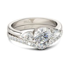 #AdoreWe #Jeulia Jewelry - Jeulia Three Stone 1.26CT Round Cut Created White Sapphire With Pear Cut Sidestone Wedding Set - AdoreWe.com