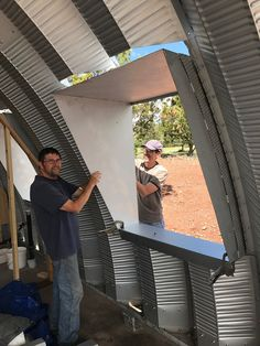 Quonset Hut Side Windows Part I - Clever Moderns Steel Building Homes, Building A Shed, Building Ideas, Building Materials, Hut House, Dome House, Window Parts, Side Window, Prefabricated Sheds