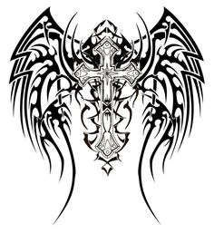 winged cross tattoo