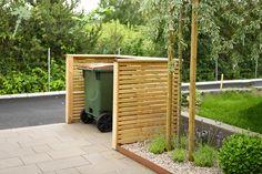 Garden Ideas Driveway, Garden Shed Diy, Fire Pit Patio, Backyard Patio, Bin Store Garden, Trash Can Storage Outdoor, Bin Shed, House Yard, Shed Design