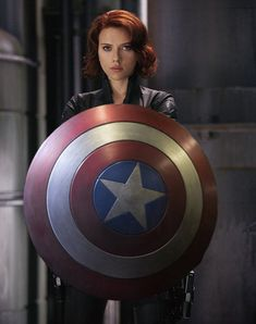"She could carry Captain America's shield. | 9 Ways Scarlett Johansson's Pregnancy Could Be Hidden In ""Avengers: Age Of Ultron"""