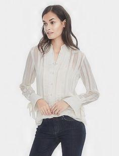 #BananaRepublic #blouse Dillon-Fit long sleeve pleat front shirt.  Color:  cocoon