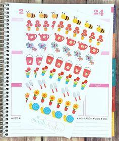43 Springtime Gardening Stickers – Perfect for Erin Condren, Plum Paper Planner, Inkwell Press, Filofax, Scrapbooking & More