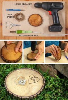 DIY Wedding Wood Slice Ring Pillow