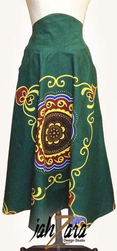 High Waist African Spirit Full Skirt in by JahzaraDesignStudio