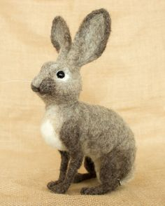 Edmund the Rabbit: Needle felted animal sculpture by The Woolen Wagon