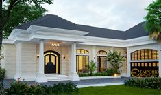 Taruna Private House Design - Jakarta- Quality house design of architectural services, experienced professional Bali Villa Tropical designs from Emporio Architect. Classic House Exterior, Classic House Design, Unique House Design, Dream House Exterior, Modern Bungalow House, Bungalow House Plans, Modern Bungalow Exterior, House Outside Design, House Front Design