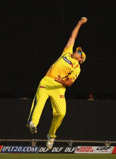 Justin Kemp of the Super Kings dives to catch Virender Sehwag of the Daredevils during the 2010 DLF Indian Premier League