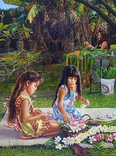 A Circle of Lei Makers by Shari Leohone