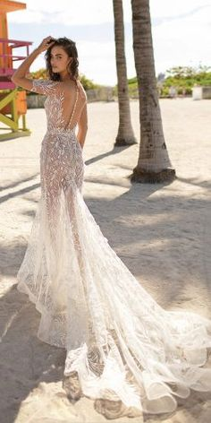 Berta Wedding Dresses for Spring The Miami Collection.These designer wedding dresses sparkle with classic Berta Bridal couture details. Sheer Wedding Dress, Stunning Wedding Dresses, Designer Wedding Dresses, Bridal Dresses, Wedding Gowns, Bridal Collection, Marie, Look, Berta Bridal