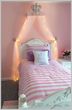crib canopy, bed crown pink princess wall decor | pink princess