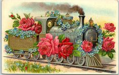 Red Roses Blue Forget Me Nots Wrap Steam Train Engine Gold Leaf Emboss Germany Birthday Postcards, Vintage Birthday Cards, Vintage Greeting Cards, Birthday Greeting Cards, Birthday Greetings, Vintage Postcards, Vintage Images, Best Wishes Card, Red And Pink Roses