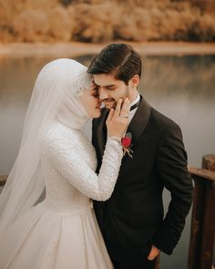 Image may contain: 1 person, wedding and outdoor Muslimah Wedding, Wedding Hijab, Muslim Wedding Dresses, Lace Wedding Dress, Cute Muslim Couples, Cute Couples, Wedding Photography Poses, Couple Photography, Islam
