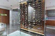 Glass Enclosed Wine Cellar, Backlit LED, Wine Cellar, Wine Pins, Wine Rods, Custom Wine Cellar, Modern Wine Cellar, Silver Wine Rods, New York