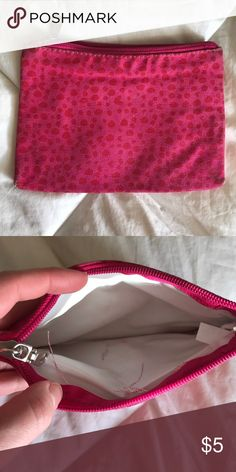 Small Cosmetic Bag Used condition (some markings on the inside - see pictures) and shows wear on the outside that could easily be fixed by throwing it in the washer. Perfect to hold cosmetics or feminine products. Smoke and pet free home! Allergo Pacific  Bags