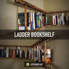 Simple and unique bookshelf: turn the ladder sideways and hang it up on your wall!  #lifehacks #design #diy