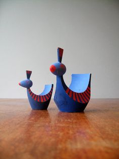 Vintage Swedish Wooden Bird Candle Holders - Vivid Blue and Red. $38.00, via Etsy.