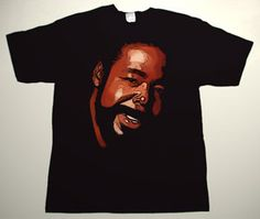 BARRY WHITE drawing 2 DELUXE ART CUSTOM T-SHIRT   Each T-shirt is individually hand-painted, a true and unique work of art indeed!  To order this, or design your own custom T-shirt, please contact us at info@collectorware.com, or visit  http://www.collectorware.com/tees-barry_white.htm