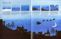 How to draw a starry sky, from 'Christmas Things to Draw' from - a great activity book full of imaginative ideas for scenes. School Christmas Cards, Christmas Books For Kids, Homemade Christmas Cards, Childrens Christmas, Christmas Activities, Kids Christmas, Christmas Crafts, Christmas Things, Christmas Scenes