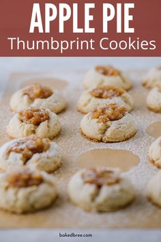 Apple Pie Thumbprint Cookies are the ultimate thumbprint cookie recipe. Tender and light cookies that has a rich and spiced apple pie filling in the center. Desserts For A Crowd, Winter Desserts, Great Desserts, Party Desserts, Delicious Desserts, Fudge Recipes, Fruit Recipes, Cookie Recipes, Dessert Recipes