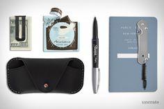 Il Morso Coffee Bar 40-Pack ($60). Public Supply Notebook ($14). Makr Eyewear Sleeve ($90). Chris Reeve Sebenza Knife ($425). M & U Co. Money Clip ($38). Sharpie Fine Point Grip Pen ($14)....