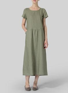 VIVID LINEN - Linen Short Sleeve Dress - An easy-going relax fit style statement you will want to wear time and time again !