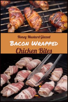 Super Easy Honey Mustard Bacon Wrapped Chicken Bites #BigGreenEgg #BGE #Grilling #Chicken #Bacon