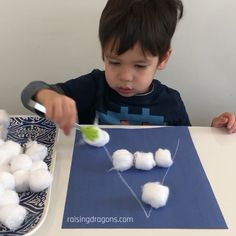 Snowball Letters uses cotton balls or marshmallows to build letter recognition fine motor and concentration skills in toddlers preschoolers and kindergarteners! Snowball Letters - Letter Recognition Activity a Motor Skills Activities, Educational Activities For Kids, Montessori Activities, Indoor Activities, Infant Activities, Cotton Ball Activities, Educational Toys, Learning Activities For Toddlers, Children's Day Activities