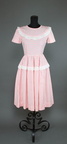 1940s Dress // Pink White Striped Eyelet Lace by GarbOhVintage