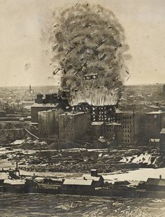 """A monument to the tragic Washburn """"A"""" Mill explosion in Minneapolis in 1878."""