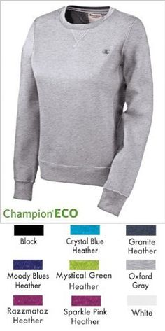 Champion Women's Eco Fleece Crewneck Fleece Champion. $13.67. Recycled fabrication. 1x1 rib neck line, cuffs and bottom band. Embroidered c logo. Not applicable. Machine Wash. Soft finish for comfort. Solid Body: 80% Cotton/20% Polyester; Trim: 90% Cotton/1% Spandex. Jersey back moon. athletic-sweatshirts closure