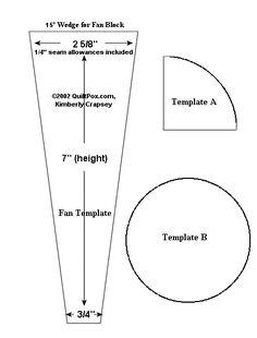 15 degree Wedge for Fan Block 7 in. height, 3/4 in. bottom, 2 5/8 in. across top 1/4 in. seam allowances included