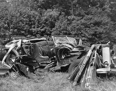 The wreckage of the car in which Albert C. Barnes was killed July 24, 1951, when he ran a stop sign and the vehicle was struck by a truck near Paoli. The Packard convertible, its top and two doors torn off, was hurled 40 feet into a nearby field. Barnes was killed instantly. He was 78.