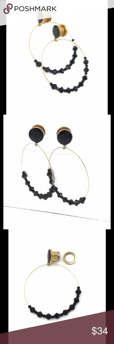 Black Gem Hoop Dangle Plugs Orders are Made & Shipped in 1-2 business days  A pair of chic and gorgeous black and gold gem hoop dangle plugs - a black gloss top with a large gold hoop featuring 2 sizes of black gem beads.   The hoop hangs down about 2 1/2 inches. The plug is a high grade 316L surgical steel with a screw on backing. Jewelry Earrings