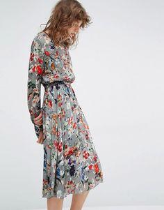 Essentiel Antwerp Marcher Floral Long Sleeve Dress at asos.com 559cce736