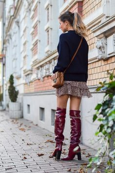First autumn leaves, red boots & Isabel Marant skirt