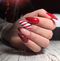 Christmas Shellac Nails, Cute Christmas Nails, Shellac Nail Art, Fall Acrylic Nails, Holiday Nails, Diy Nails, Fall Almond Nails, Almond Gel Nails, Cute Almond Nails
