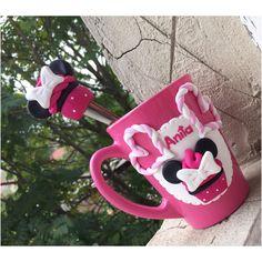 Polymer clay handmade homemade mug pink minnie mouse disney spoon
