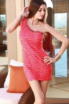 CORAL CHAINLINK COLLAR TIERED RUFFLY DESIGN SEXY ONE SHOULDER MINI DRESS $23.99 http://www.amiclubwear.com/clothing-dress-aaa9-h2006coral.html#