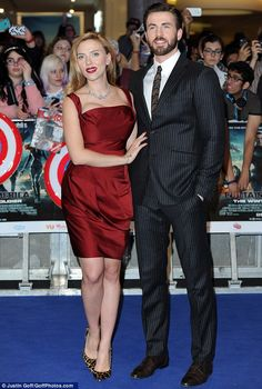 "Scarlett Johansson & Chris Evans at the UK premiere of ""Captain America: The Winter Soldier"""