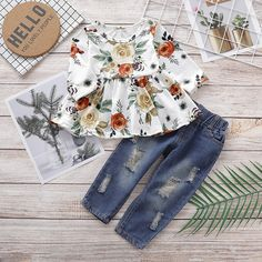Toddler Girl Casual Flounced Top and Ripped Jeans Set Baby Girl Fall Outfits, Fall Baby Clothes, Kids Outfits Girls, Little Girl Outfits, Baby Outfits Newborn, Toddler Outfits, Baby Girl Thanksgiving Outfit, Really Cute Outfits, Trendy Girl