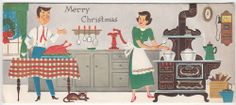 Vintage Mom and Dad Making Christmas Dinner Greeting Card